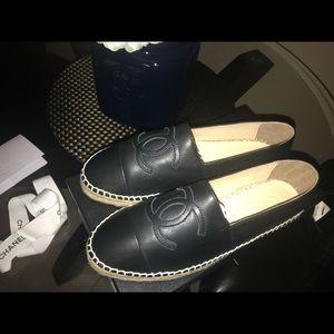 Lambskin Black Chanel Cc Women's Espadrilles Sz 36